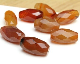 Large Faceted Natural Genuine Carnelian Barrel Beads 10x20mm 2pcs