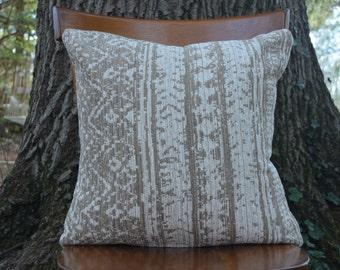 Neutral Boho Pillow Cover / Cream and Beige Cushion Cover / 19x19 Throw Pillow Case / Handmade Home Decor