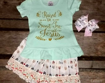 Girls Arrow Sweet Tea and Jesus Outfit with Shorts Skirt or Pants