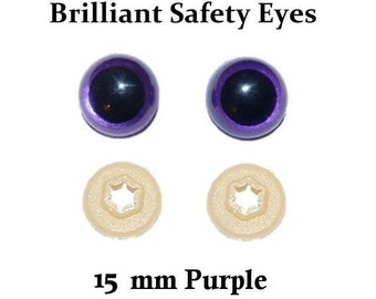 15mm Safety Eyes Purple / Violet Brilliant with Round Pupil (One Pair)