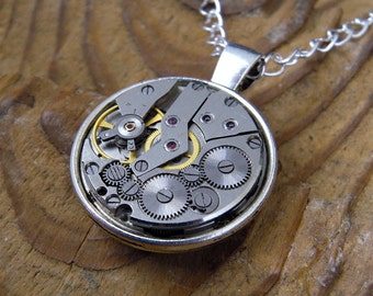 Steampunk Necklace / Pendant - Featuring Vintage Watch Gears.