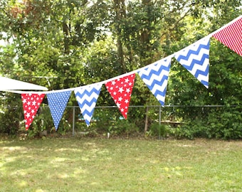 Handmade Fabric Bunting - Red / White / Blue/ Superhero / Birthday / Kids Room / Photo Prop / Garland / Pennant