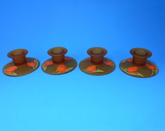 4 vintage Amber Glass Candle Stick Holders with Tulip Design