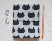 SALE 50% off - Cat Fauxdori, Fabric Traveler's Notebook in A6 size, Refillable Notebook Cover, Gift for Cat Lover and planner addict
