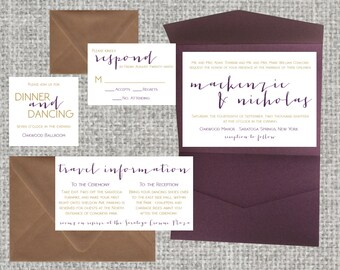 Metallic Wedding Pocket Invitation Suite • 91+ colors • Pocketfold • gemstone, gold, calligraphy
