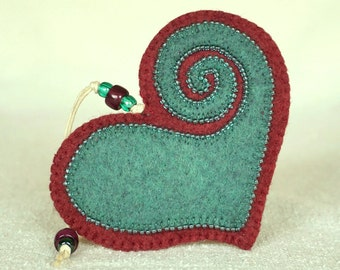 Beaded Plum and Teal Wool Felt Heart Ornament #3, Mother's Day Heart, Wedding Favor, Proposal Idea, Anniversary Gift *Ready to ship