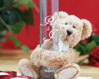 Personalized Engraved Bud Vase with I Love You Teddy Bear