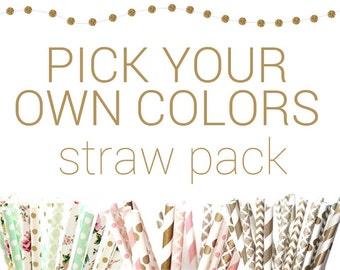 PICK YOUR OWN Colors Straws, 25, Chevron, Stripes, Dot & Star Designs, custom, damask, wedding, bulk, Disney Princess, Crowns, Flower, Party