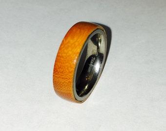 Mens wood wedding band, Osage ring; titanium interior