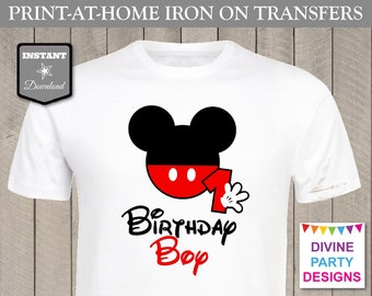 INSTANT DOWNLOAD Print at Home Mouse Birthday Boy Age 1 Iron On Transfer / Printable / 1st First One / T-shirt / Party / Trip / Item #2306