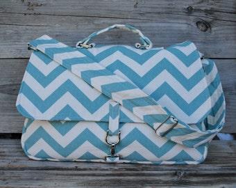 Fabric Messenger Bag, Teal Chevron Fabric Bag, Fabric Purse, Fabric Laptop Bag, Teal Chevron bag, Cloth Shoulder Bag with Handle
