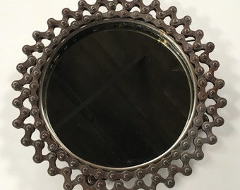 Vintage Bike Chain Mirror - Round Bicycle Chain Mirror - Retro Style Upcycled Bike Parts Sculpture Art