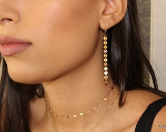 disc earrings, drop earrings, Coin drop Earrings, Drop Earrings, Dangling Earrings, long earrings, Long Gold Dangle Earring,
