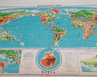Giant Pull Down Wall Map of the World