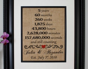 Fifth Anniversary Burlap, Fifth Year Married, 5th Anniversary, Five Year, Any Year, Burlap Print, Burlap Sign, Personalized Anniversary