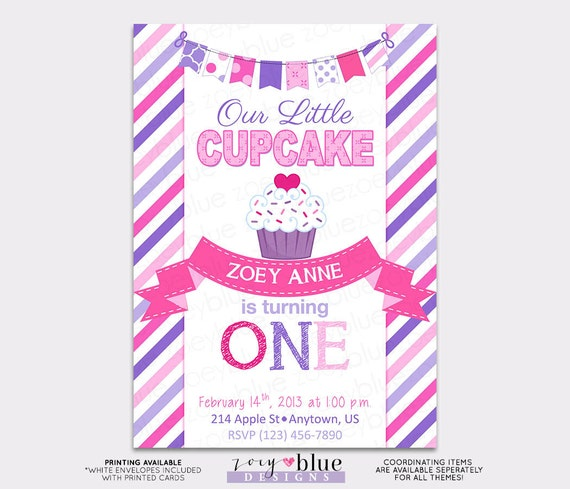 Little cupcake birthday invitation pink purple birthday 1st girl il570xn filmwisefo