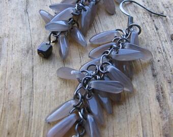 Gunmetal and grey glass dagger cluster dangles