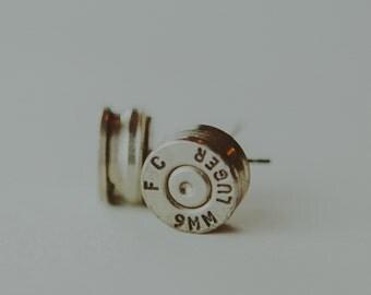 9mm FC Luger Bullet Shell Stud Earrings - Bullet Casing Jewelry