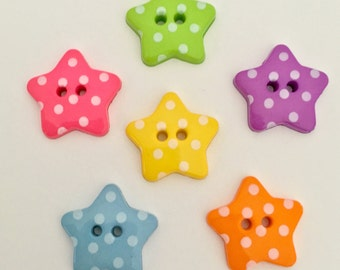 10 x 18mm Polka Dot Spot Star Buttons - choose your colour