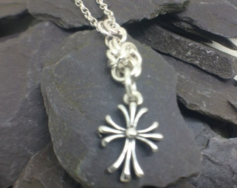 Sterling Silver Cross Pendant Necklace, Chainmaille Necklace, Christian Jewelry,