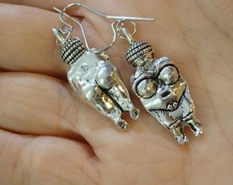 Venus of Willendorf Earrings Silver Tone