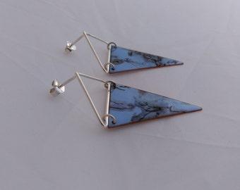 "silver earrings ""marbling "" Blue"