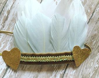 The Dakota feather crown headband