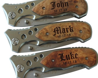 Personalized Pocket Knife with Metal Blade,  Engraved Knife, Groomsmen Knife, Groomsmen Knife Gift, Groomsman Gift, Wood Handle Knife