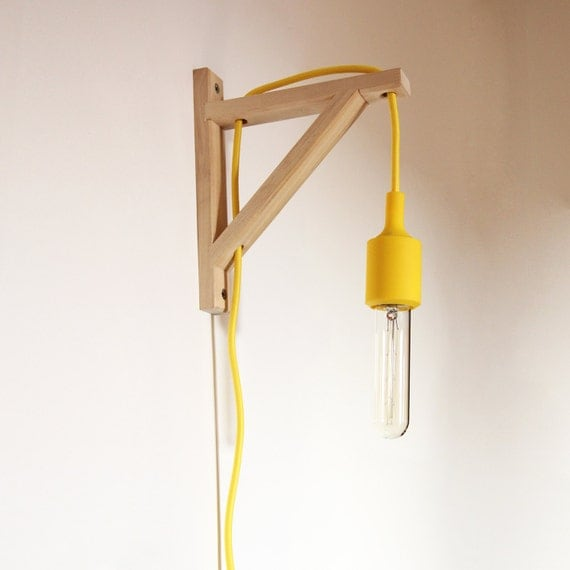 Wall lamp Wooden square corner YELLOW colour textile cord