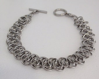 Steel Chainmail Bracelet, Men Womens Stainless Steel Bracelet, Shenanigans Chain Mail, Womens Steel Jewelry, Chainmaille Bracelet Gift,