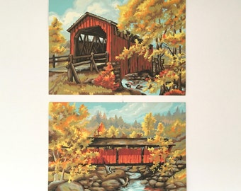 Set of 2 Paint by Number Paintings - Autumn Landscape with Covered Bridge - Vintage Art
