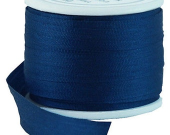 11 Yds (10 M) Embroidery Silk Ribbon 100% Silk 7mm - Navy - By Threadart
