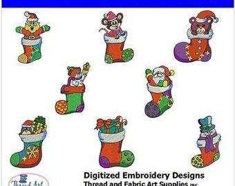 Embroidery Design CD - Christmas Stockings - 8 Designs - 9 Formats - Threadart