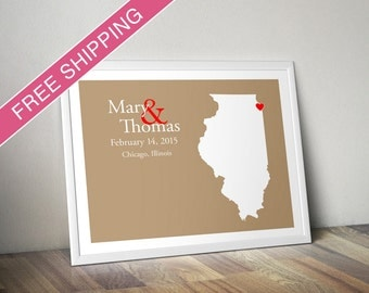 Custom Wedding Gift : Personalized Wedding Location and State Map Print - Illinois - Engagement Gift, Wedding Guest Book