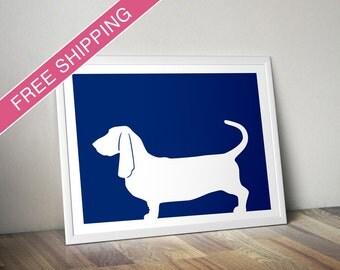 Basset Hound Print -  Basset Hound Silhouette, Basset Hound art, dog portrait, modern dog home decor