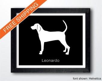 Personalized Redbone Coonhound Silhouette Print with Custom Name - Redbone Coonhound art, dog portrait, modern dog home decor