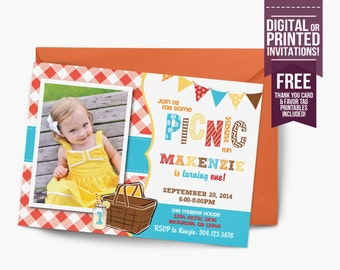 picnic Birthday Invitation, first birthday party invitation, lemonade picnic, party invitation printable, FREE thank you card