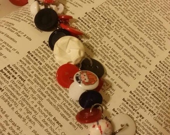 Funky and Fun Red,white and blue button bracelet