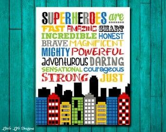 Superhero Wall Art. Superhero Decor. Superhero Room. Boys Room Decor. Superhero Sign. Little Boys Art. Superhero Party Decor. Super Heroes