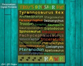 Dinosaur Wall Art. Dinosaur Decor. Children's Wall Art. Personalized Dinosaur Dig! Dinosaur Party Decor. Dinosaur Birthday. Little Boys Room