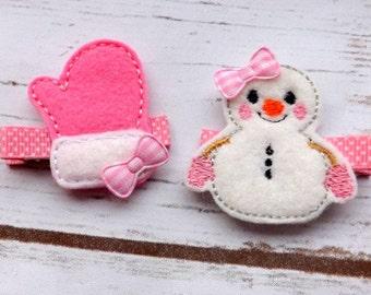Snowman hair clip set, mitten hair clip, Christmas hair clips, christmas hair accessories, christmas hair clips, UK seller
