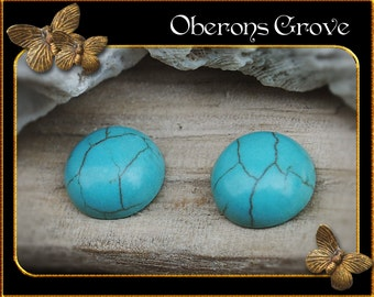 4 turquoise magnesite cabochons 12mm
