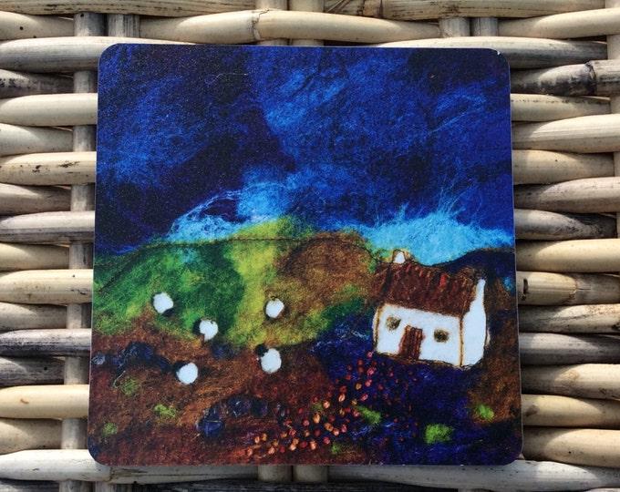 Matt coaster ' Little Brown Roof ' made from an original wet felt picture by Sue Howat