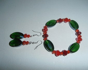 Green, Red Crystal Glass Faceted beads bracelet, earring