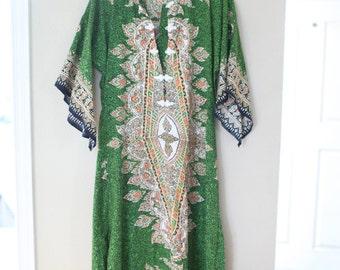 vintage green bohemian tunic caftan dress