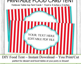 Editable Circus Stripes Table-top Tent Cards, Carnival Birthday Party Food Card, Circus Food Tents, foldover, You Print, DIY