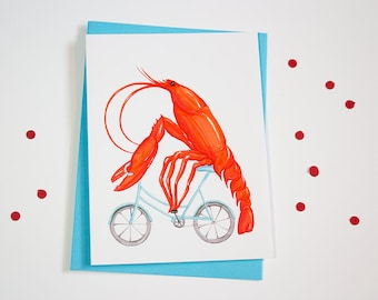 Lobster on bicycle, cycling lobster, lobster card