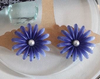 Vintage flowers, earrings, blue, 50 years