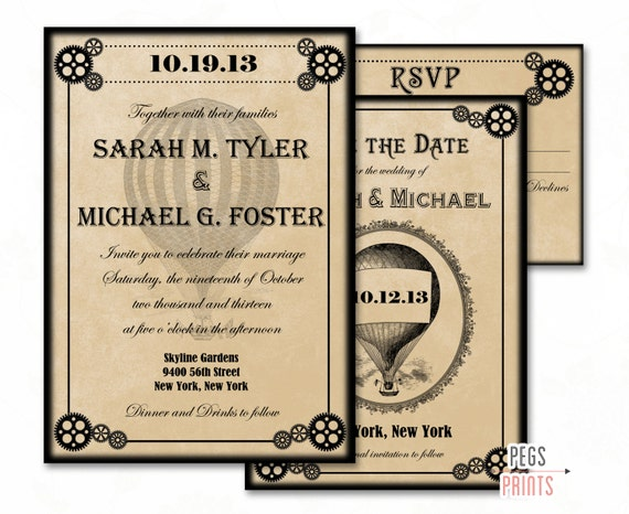printable steampunk wedding invitations,