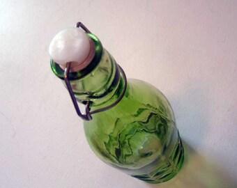 Flip top bottle, vintage flip top bottle, decorative bottle, green bottle